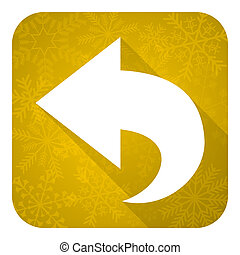 back flat icon, gold christmas button, arrow sign