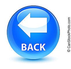 Back glassy cyan blue round button