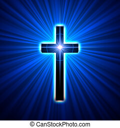 glowing cross  - back glowing cross over blue light rays