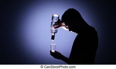 Back habits. Alcoholism. Back light - Bad habits, young guy...