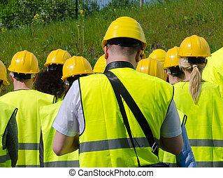 back., hardhats., workers, группа, посмотреть