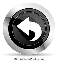 back icon, black chrome button, arrow sign