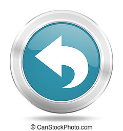 back icon, blue round glossy metallic button, web and mobile app design illustration