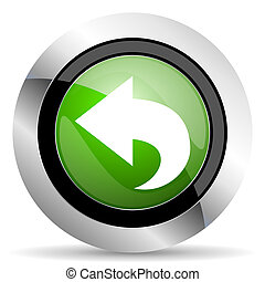 back icon, green button, arrow sign