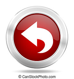 back icon, red round glossy metallic button, web and mobile app design illustration