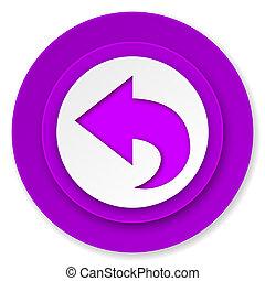 back icon, violet button, arrow sign
