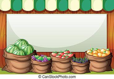 back, illustratie, lege, zak, mal, vruchten, markt