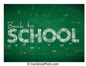 back, illustratie, school, vector