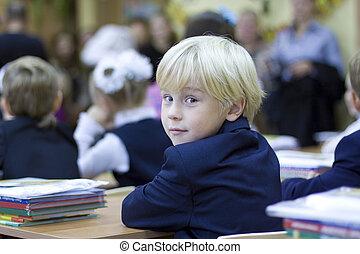Back in school - boy in the classroom
