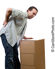 Back Injury - A man dressed in casual clothing, hurt his...