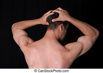 BACK IT UP - Man\'s back, holding head