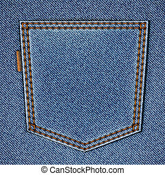 Back jeans pocket on realistic jeans texture. Vector eps10...