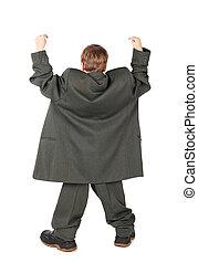 back, jongen, weinig; niet zo(veel), groot, vrijstaand, laarzen, grijze , achtergrond, kostuum, hand, witte , man's, aanzicht