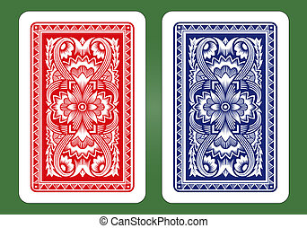 back, kaart gespeel, designs.