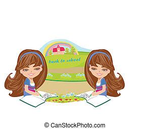 back, kaart, school