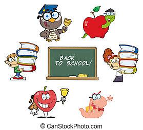 back, karakters, school
