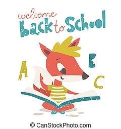 back, lezende , schattig, welkom, school, vos, book., poster, karakter