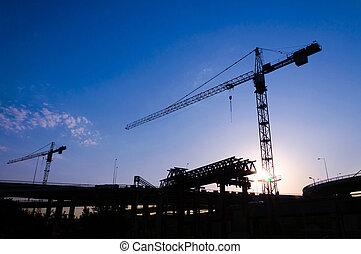 Back light construction site in Belgrade