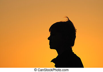 Back light portrait in the sunset