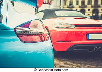 Back lights of a blue car