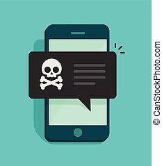 Back malware notification on mobile phone vector,, concept of spam data on cellphone, fraud error message, scam, virus