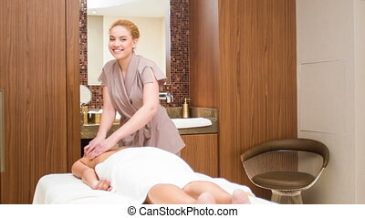 Back massage at spa