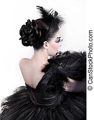 back., moda, retrato arte, de, hermoso, girl., moda, estilo, woman., aislado, blanco, plano de fondo