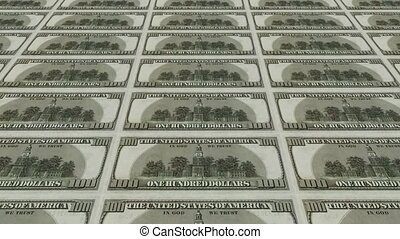 back of 100 dollar bills,Printing Money Animation.