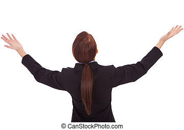 back of a business woman holding her hands up