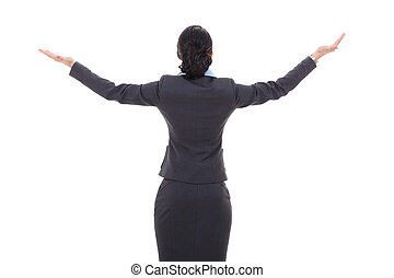 back of a business woman with her hands in the air