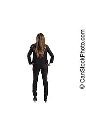Back of a businesswoman. Isolated on white background