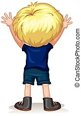 Back of a little boy with blond hair