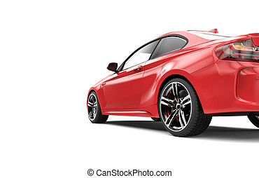 Back of a red luxury car isolated on a white background...