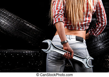 Back of a sexy woman with a big wrench