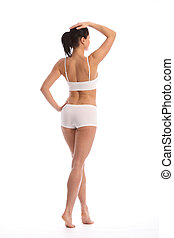 Back of beautiful woman with toned fit body - Rear view of...