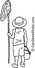 back of boy holding net and bucket vector illustration sketch doodle hand drawn with black lines isolated on white background