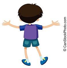 Back of boy in purple shirt