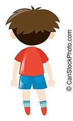 Back of boy in red shirt