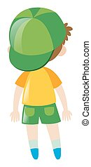 Back of boy in yellow shirt