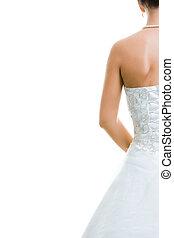 Back of bride - Image of back of bride in wedding dress...