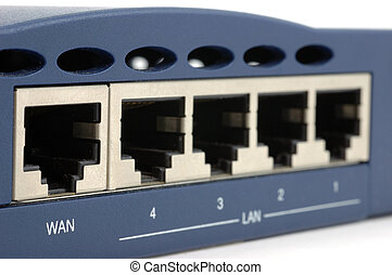 Back of broadband router - Back of a broadband router over...