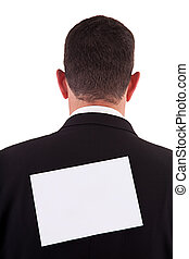back of businessman, with a paper , isolated on white background, studio shot.
