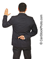 Back of executive liar - Back of executive man liar swearing...