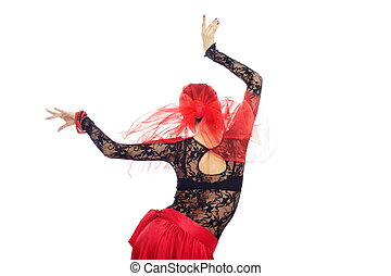Back of flamenco dancer