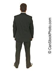 Back of full body shot business man isolated on white...