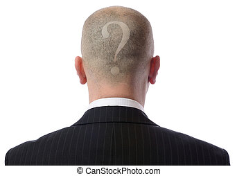 back of head question - Rear view of bald man with a...