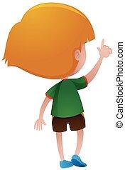 Back of little boy in green shirt illustration