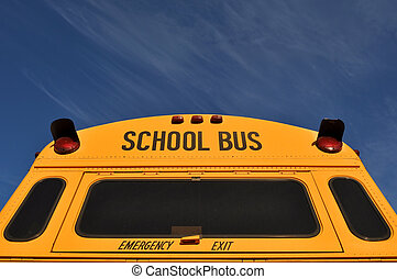 Back of School Bus with Blue Sky
