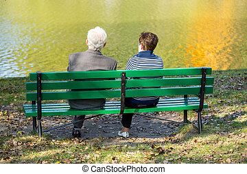 Back of senior couple