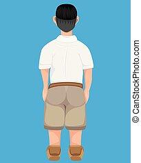 back of student boy vector design